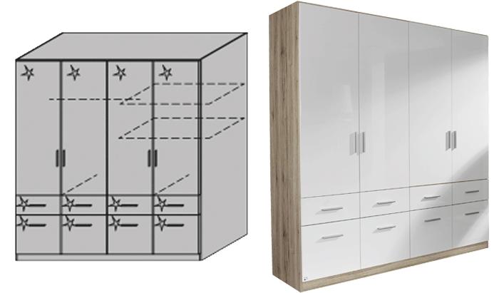 4 Door Combination Wardrobe