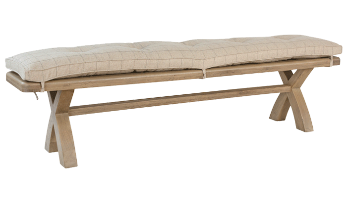 2m Dining Bench Natural Check Cushion Only