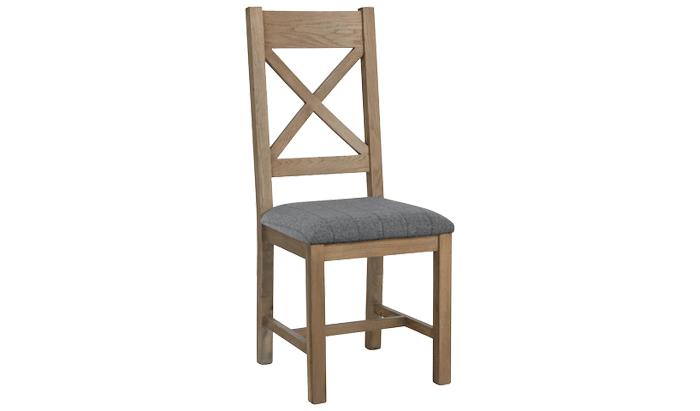 Cross Back Dining Chair (Grey Check)