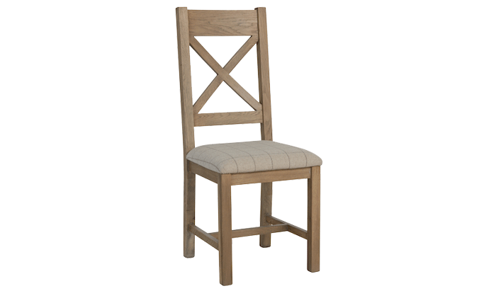 Cross Back Dining Chair (Natural Check)