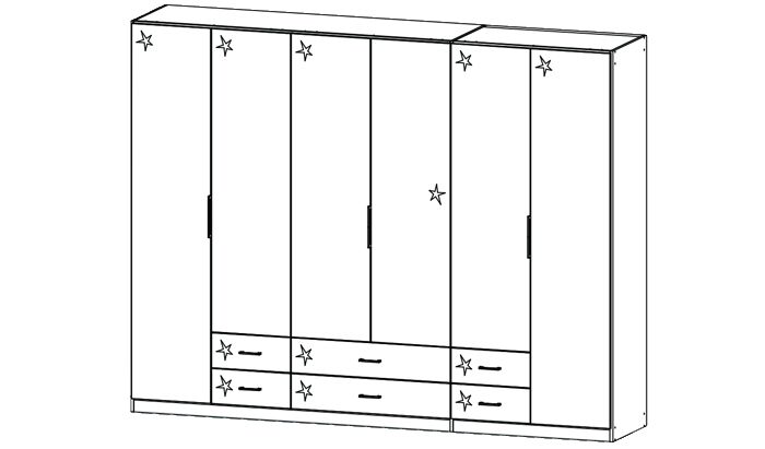 6 Door Combination Wardrobe