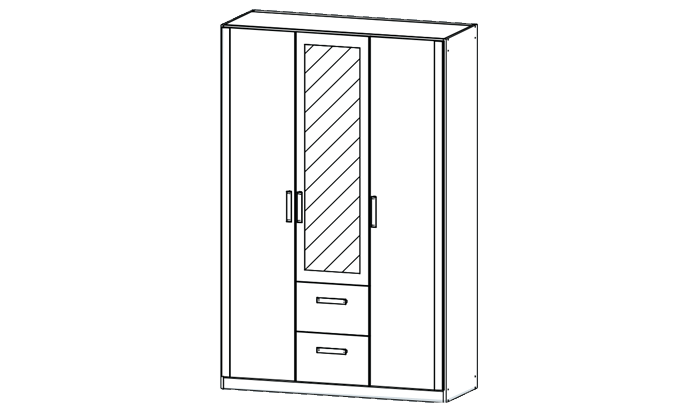 3 Door Mirrored Combi Wardrobe