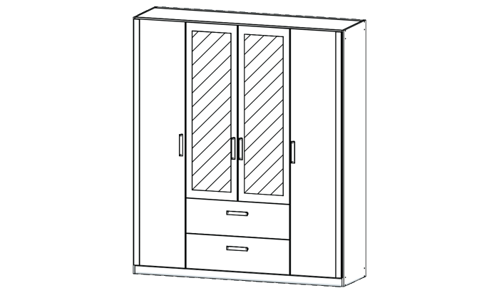 4 Door Mirrored Combi Wardrobe